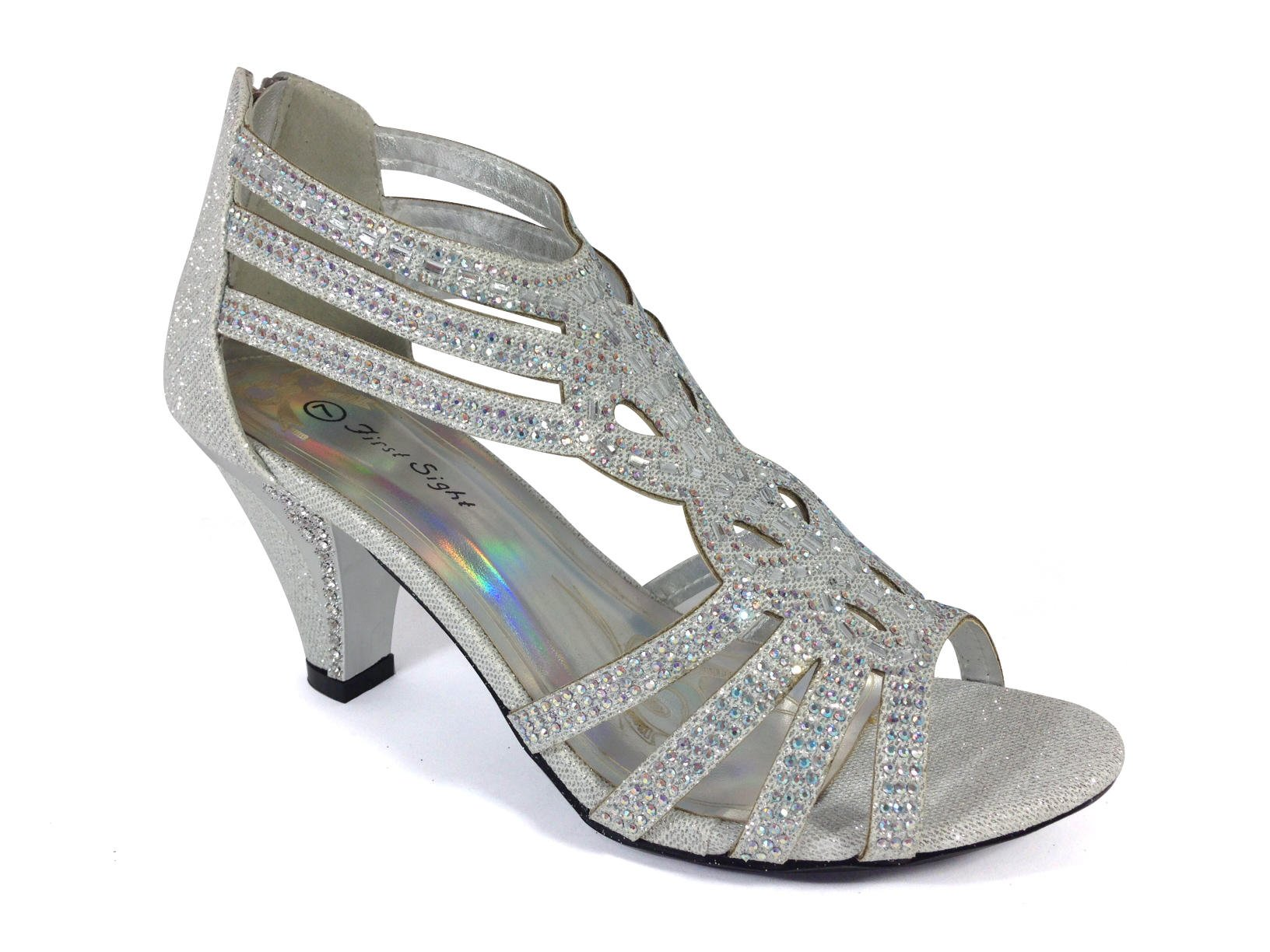 Enzo Romeo Kinmi25N Womens Open Toe Mid Heel Wedding Rhinestone Gladiator Sandal Shoes (9, Silver)