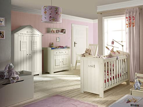 Babyzimmer holz  Babyzimmer Kinderzimmer SAINT-TROPEZ weiss, Holz massiv ...