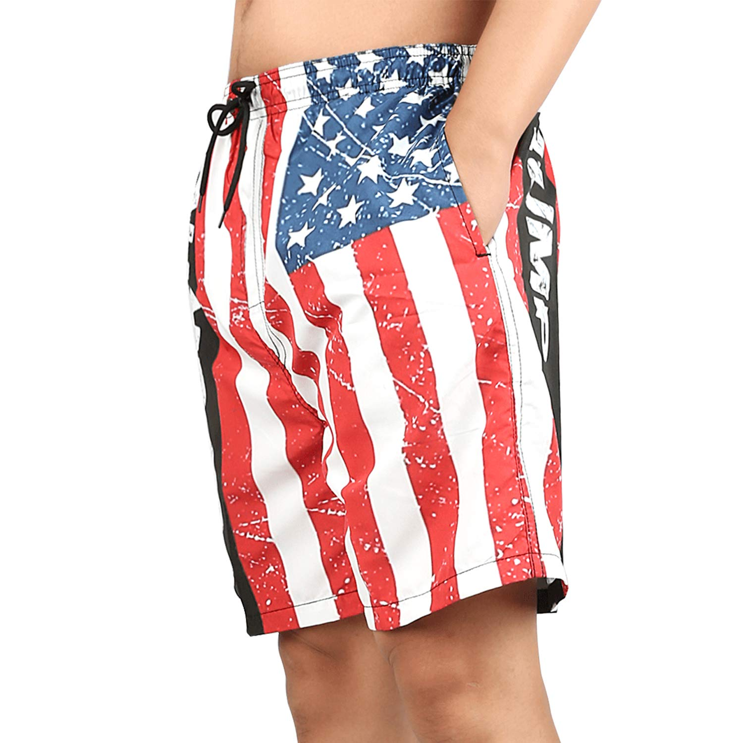 ZQ-SOUTH Trump 2020 American Flag Mens Printing Beach Shorts Swim Trunk Quick Dry, Medium