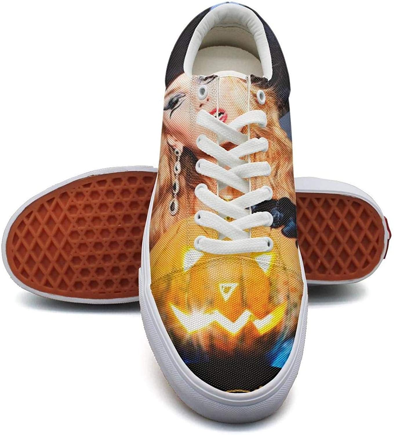 Lady Halloween Trick or Treat Pumpkin Witch Canvas Shoes Low-Cut StrapsClassic Comfortable Sneakers Suitable for Walking