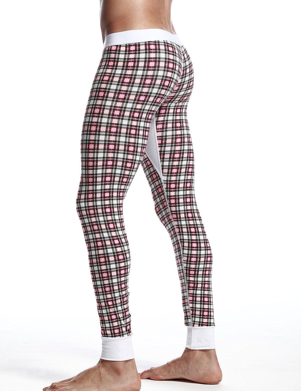 SEOBEAN Low Rise Mens Underwear Pants Long John Grid Cotton 2273