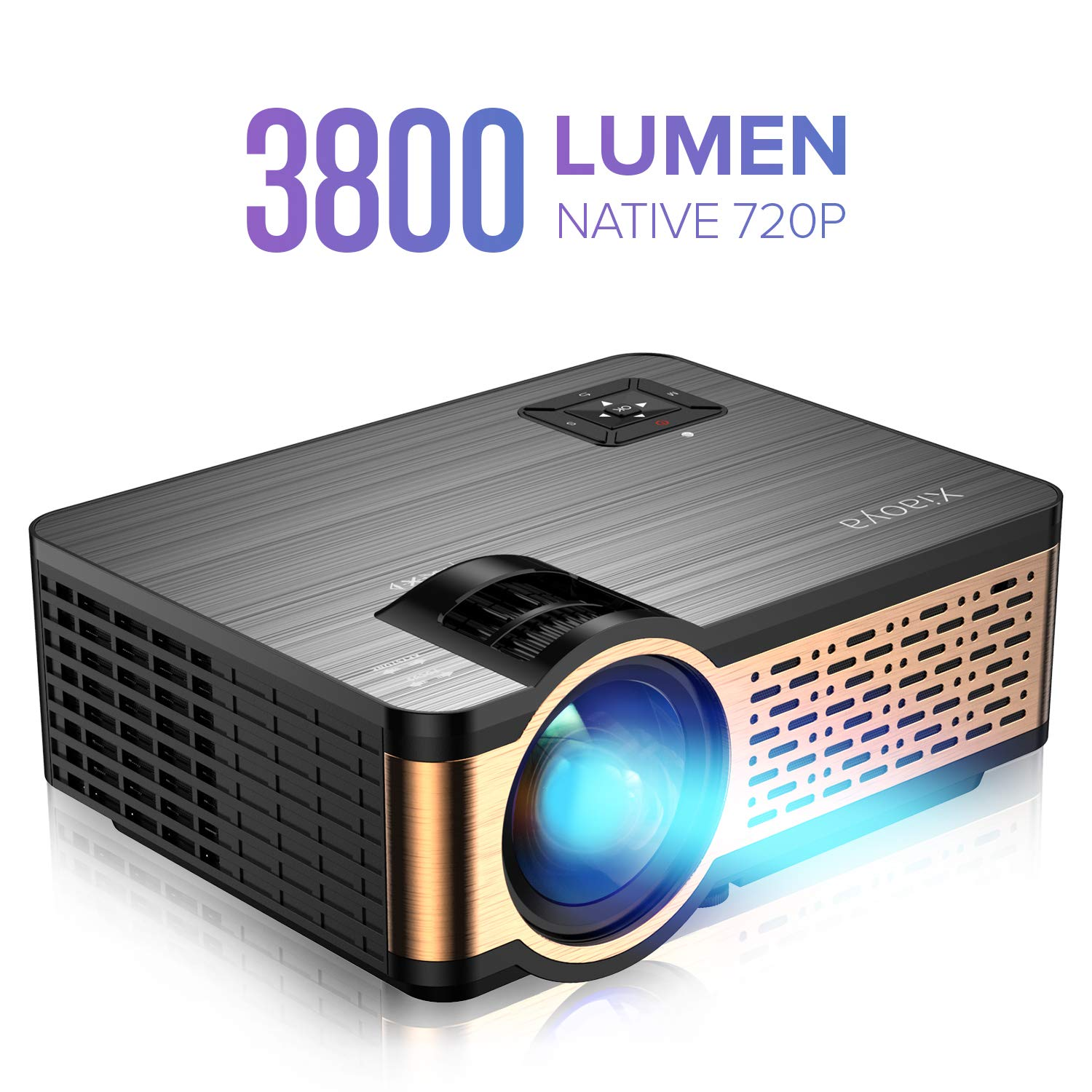 XIAOYA W5 Native 720P Mini Movie Projector with HiFi Speaker, 3800 Lumen Video Projector Support 1080P Display for Home Theater Entertainment,Compatible with HDMI, SD, AV, VGA, USB by Xiaoya