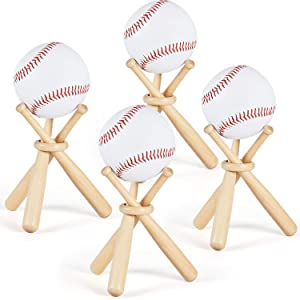 Maitys Wooden Baseball Stand Display Holder with Mini Baseball Bats and Wooden Circles for Baseball Players Fans (4 Sets)