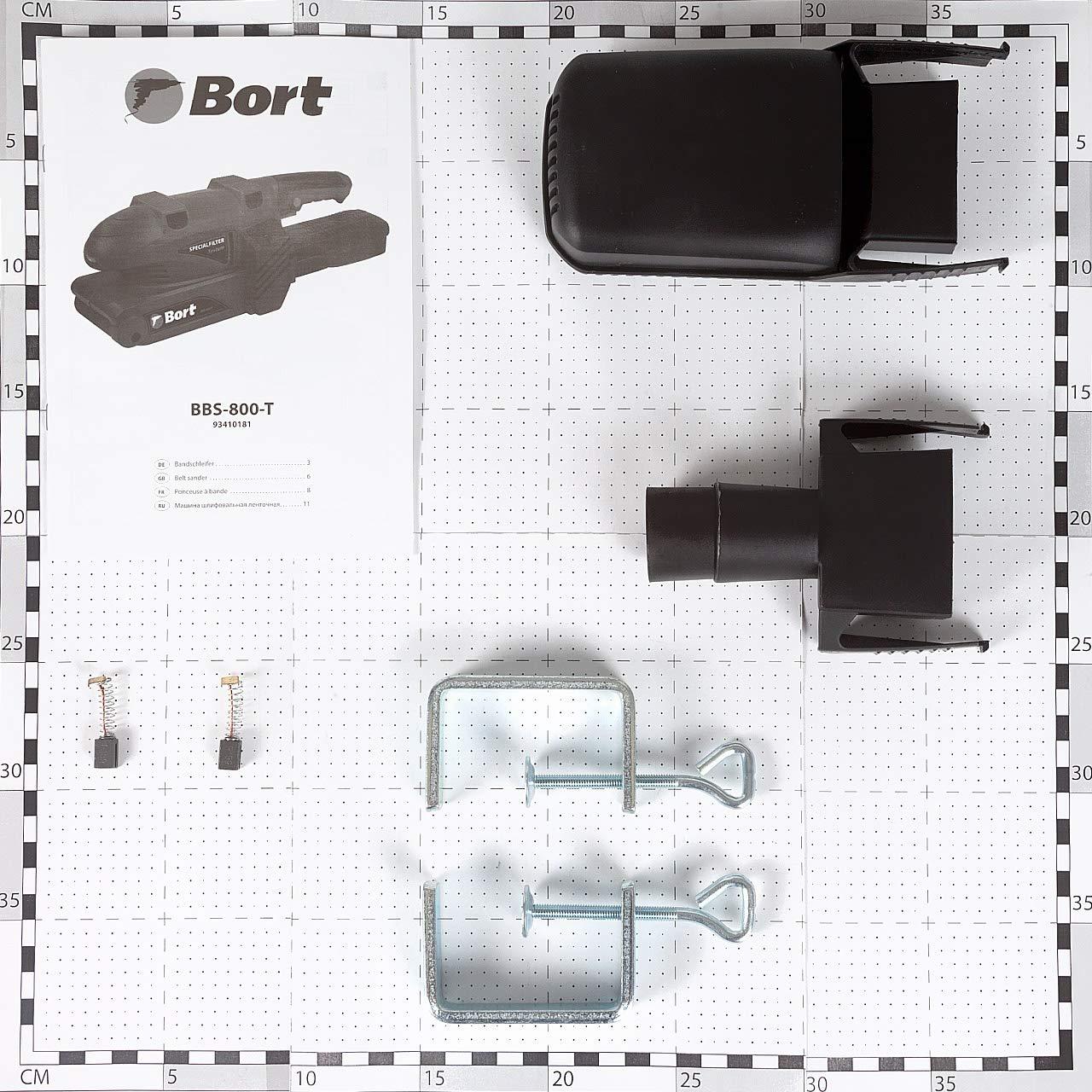 2 Schraubzwingen Schleifband 75X457mm Drehzahlregelung Staubf/änger Staubsauger Adapter 170-250rpm Bort Bandschleifer BBS-800-T 750 Watt Betrieb im Station/äreinatz inkl