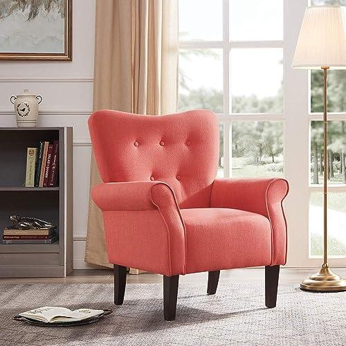 BELLEZE Accent Chair Armchair High Back Cushion Seat Armrest Linen Modern