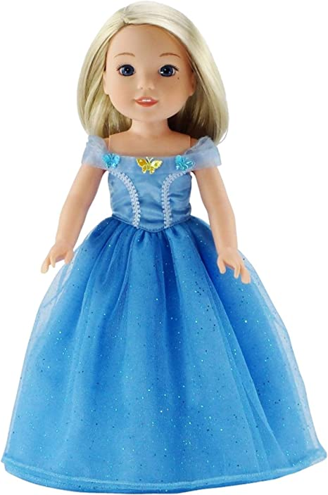 Blue Butterfly Frozen Cinderella Princess Dress for American Girl 18 inch Doll