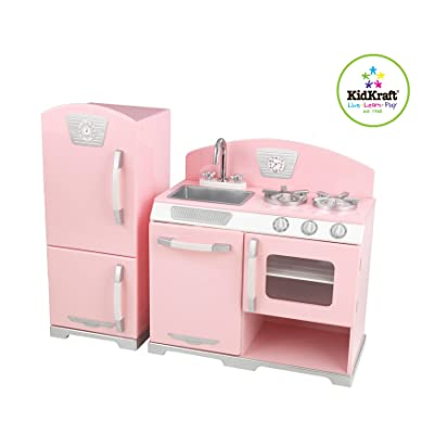 Kidkraft Retro Kitchen and Refrigerator in Pink: Toys & Games