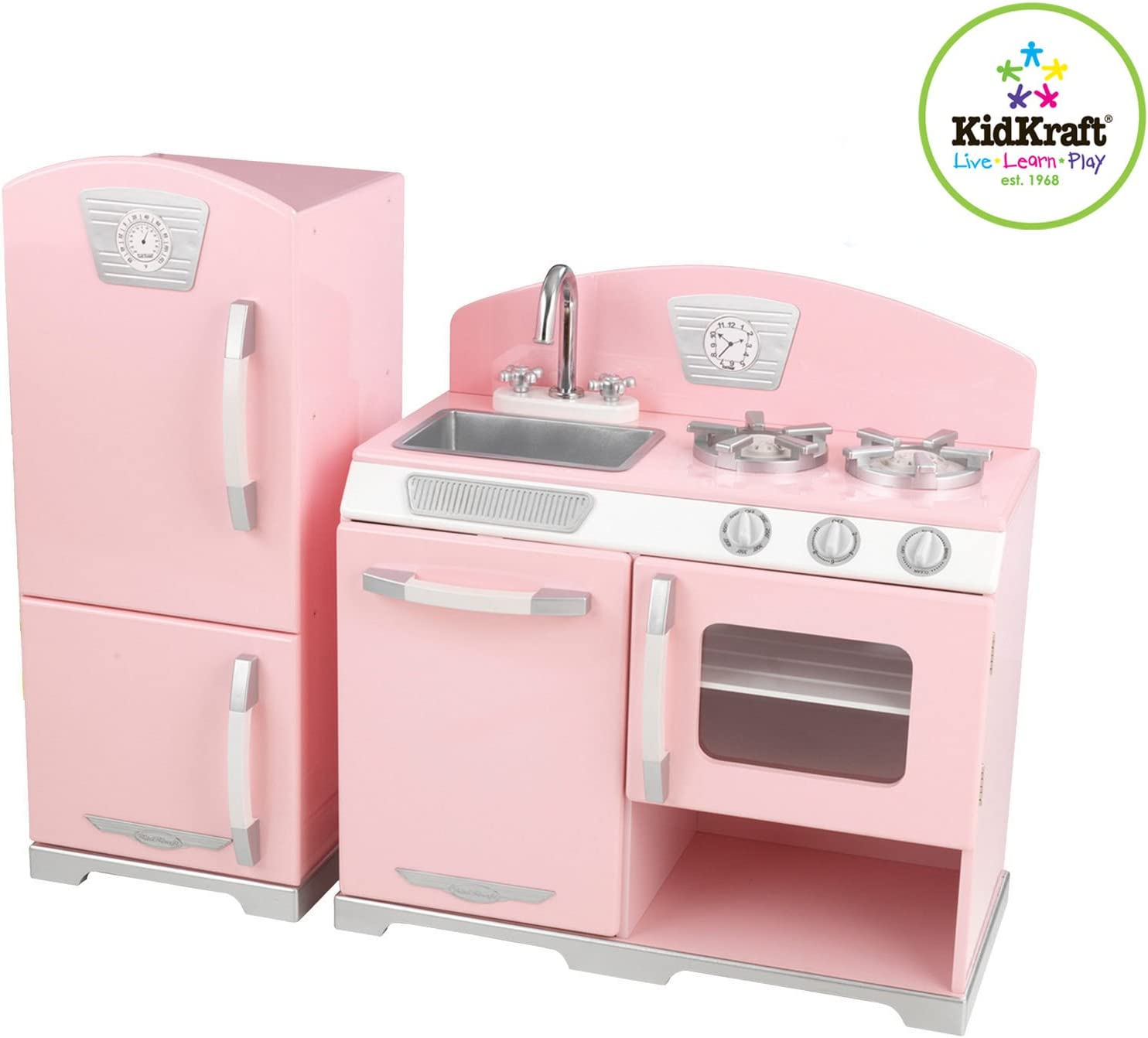 Amazon.com: Kidkraft Retro Kitchen and Refrigerator in Pink ...