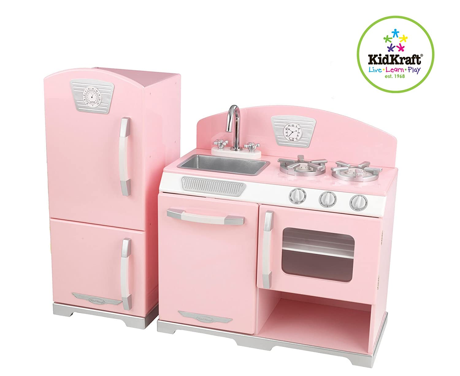 exceptional Kidkraft Pink Retro Kitchen And Refrigerator Play Set Part - 1: Amazon.com: Kidkraft Retro Kitchen and Refrigerator in Pink: Toys u0026 Games