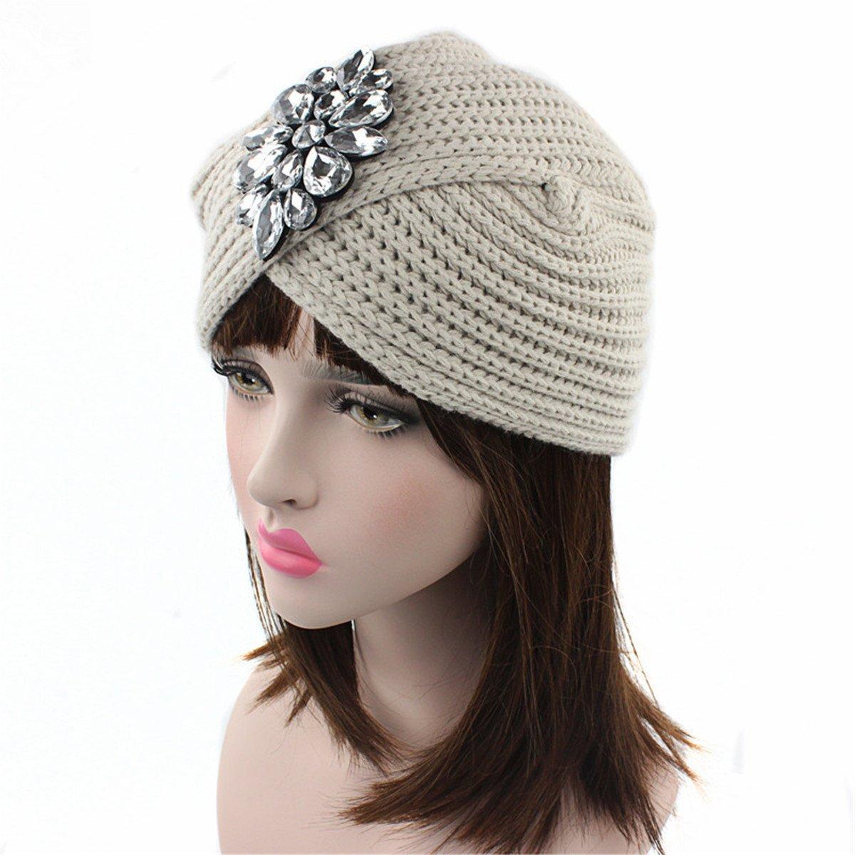 Amazon.com: Qhome Womens Luxury Divas Winter Knit Turban Beanie With Jeweled Pendant: Clothing