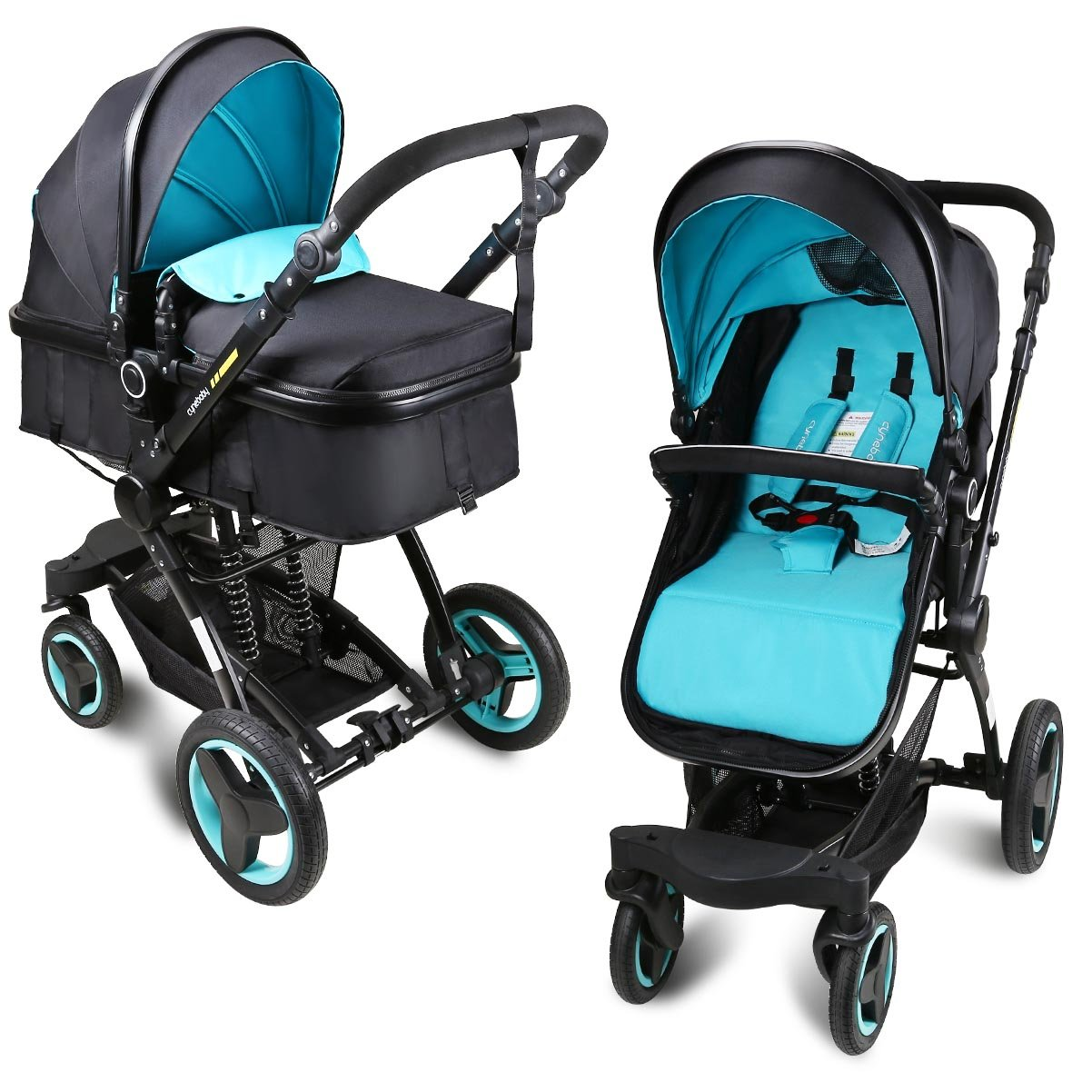 Baby stroller travel system folding pram pushchair infant toddler carriage high landscape (blue) by Cynebaby (Image #1)