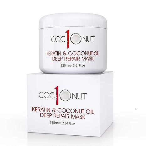 Mascarilla capilar de reparación intensa con queratina y aceite de coco - Tratamiento intensivo acondicionador para pelo seco y dañado - 225 ml