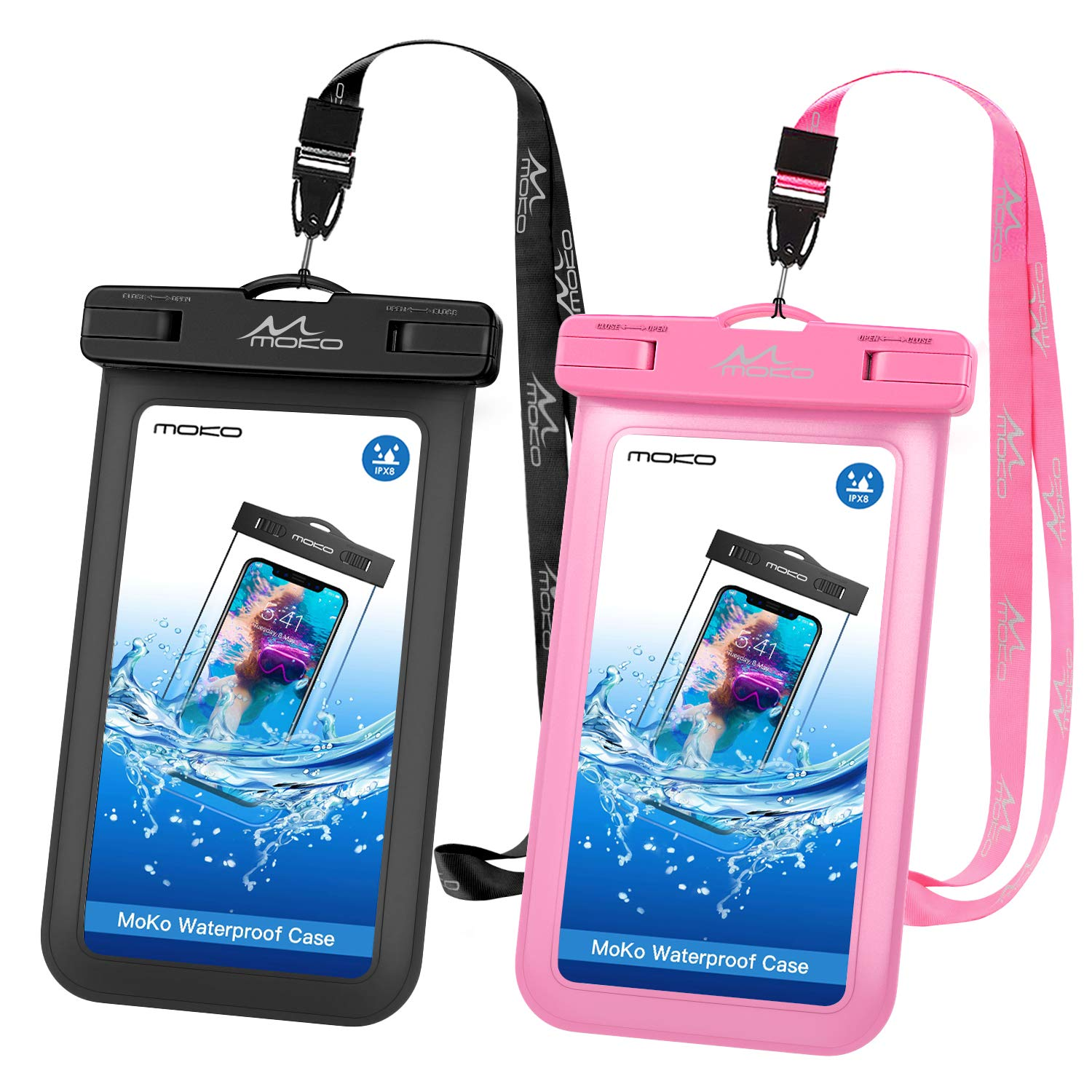 2a0bffed2309 MoKo Waterproof Phone Pouch [2 Pack], Underwater Waterproof Cellphone Case  Dry Bag with Lanyard Compatible with iPhone X/Xs/Xr/Xs Max, 8/7/6s Plus, ...