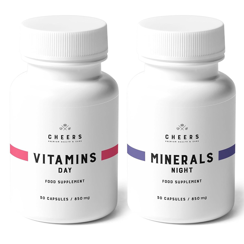 Suplemento vitamínico y mineral por Cheers - 100% vegano - 19 vitaminas y hierbas para aumentar la energía, ponerse en forma, dormir bien - Sin rellenos ni ...