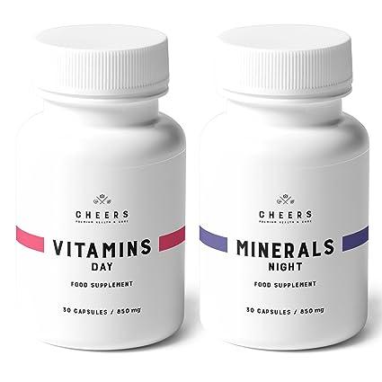 Suplemento vitamínico y mineral por Cheers - 100% vegano - 19 vitaminas y hierbas para