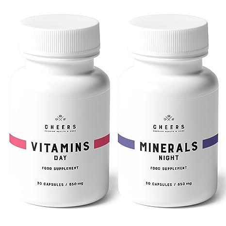 Suplemento vitamínico y mineral por Cheers - 100% vegano - 19 vitaminas y hierbas para aumentar la energía, ponerse en forma, dormir bien - 60 ...
