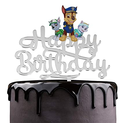 Paw Patrol Happy Birthday Cake Topper Nickelodeon Dog Cartoon Theme Party Cake Decor Baby Shower Boys Birthday Party Supplies Adorable Chase