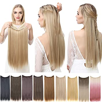 Amazon Com Straight Halo Hair Extensions Beach Blonde Long Synthetic Hairpieces For Women 22 Inch 4 2 Oz Secret Wire Headband Heat Friendly Fiber No Clip Sarla M02 613 Beauty