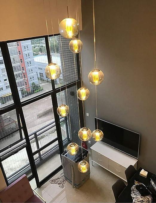 Mlshlf lamp 11 Luces Escalera Candelabro Moderno Comedor Lámpara Redonda Esférico Duplex Villa Edificio Giratorio Gran Sala de Estar Araña Larga 50x150cm: Amazon.es: Hogar