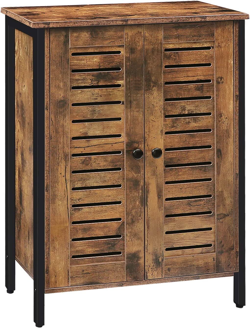 HOOBRO Floor Standing Cabinet, Storage Cabinet with 2 Adjustable Shelves, Accent Cupboard, Sideboard with Louver Doors, for Living Room, Bedroom, Hallway, Kitchen, Industrial, Rustic Brown BF27CW01