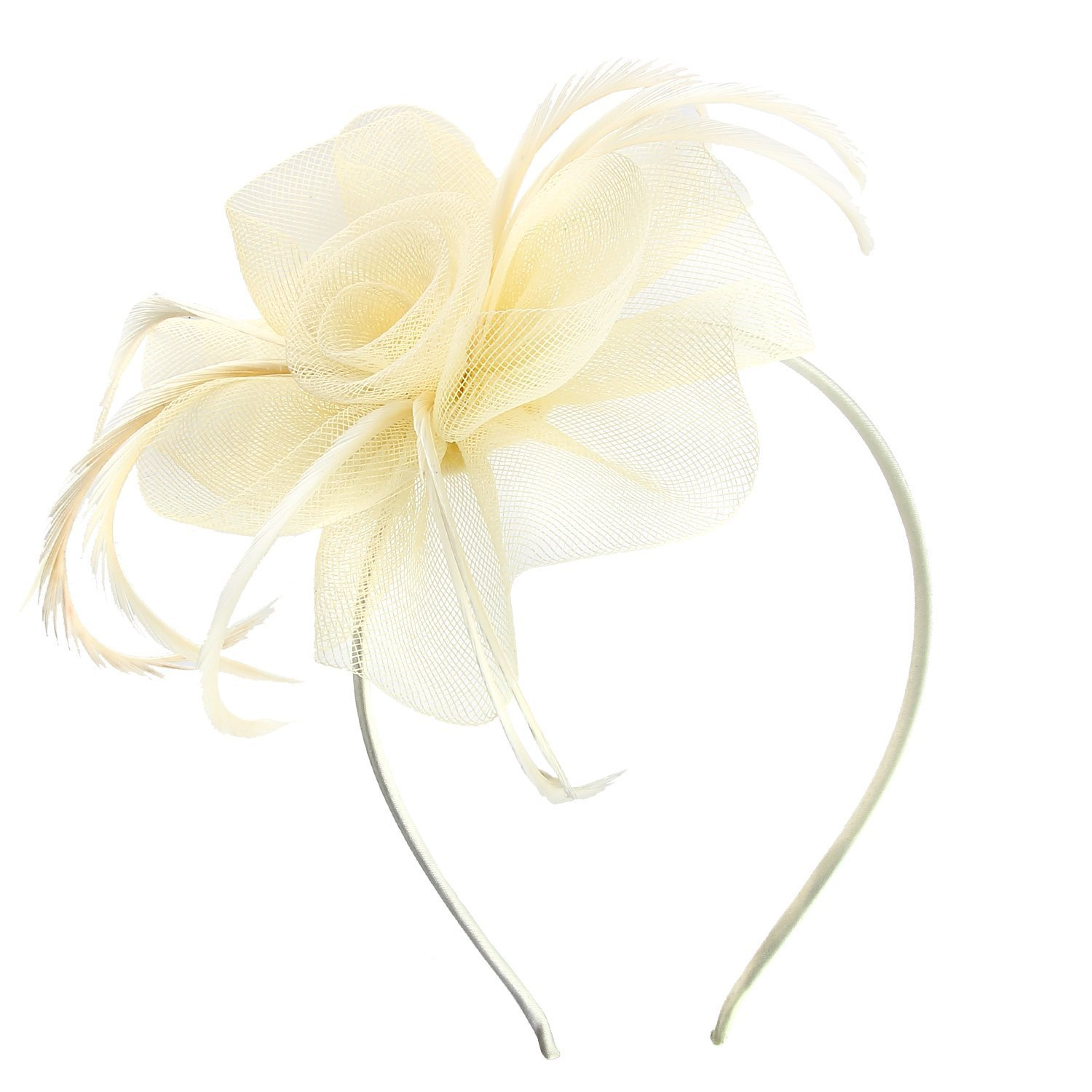 Acecharming Fascinators for Women, Feather Sinamay Fascinators with Headbands Tea Party Pillbox Hat Flower Derby Hats(Ivory)