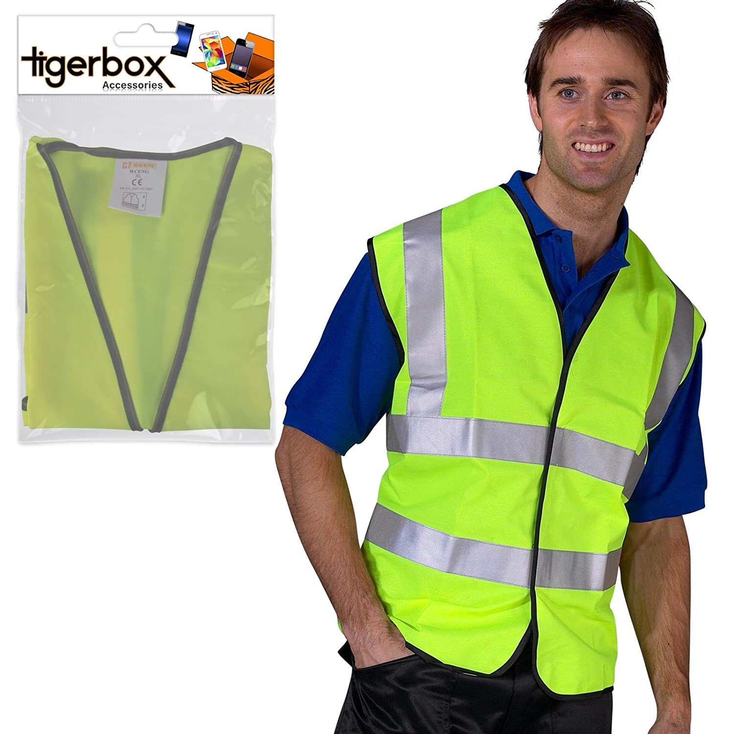 Bike Biker Yellow Driving XL Road Side Motorbike Motorcycle Suitable For Cycling Tigerbox/® Be Safe Be Seen Adult Hi-Vis Safety Vest Waistcoat