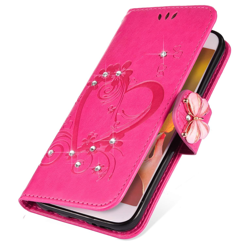 Saceebe kompatibel mit Galaxy S10 H/ülle Leder Ledertasche Schutz H/ülle Leder Liebe Form Butterfly-Lederh/ülle mit Lanyard Ledertasche mit Lanyard kratzfest sto/ßfest,gold