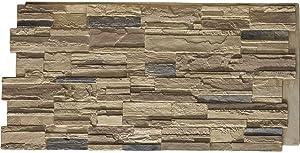 """Ekena Millwork PNU24X48CACO Cascade Stacked StoneWall Faux Stone Siding Panel, 48 5/8""""W x 24 3/4""""H x 1 1/4""""D, Colfax"""