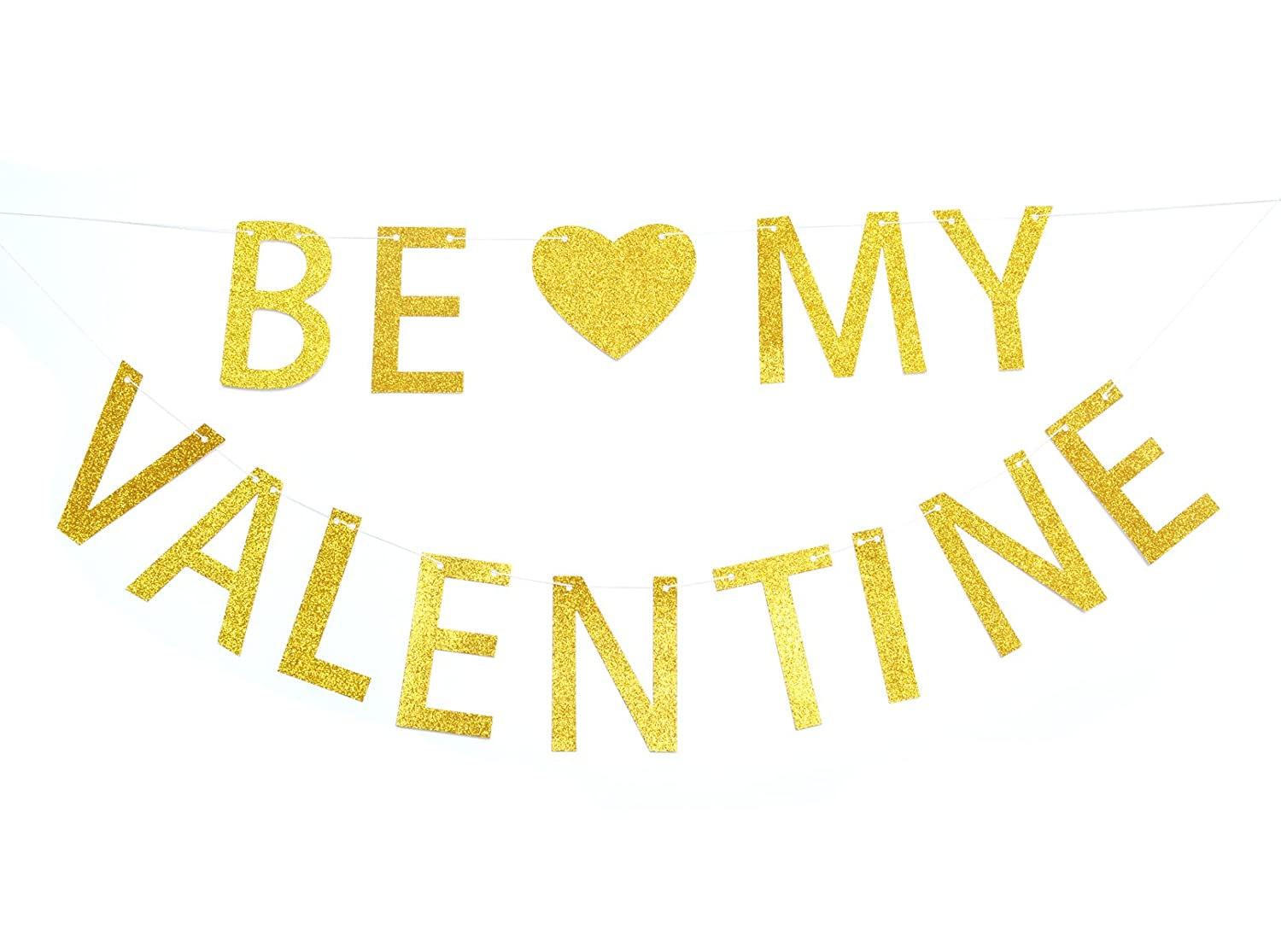 617e0ea37608 Amazon.com: Qttier Be My Valentine Gold Glitter Banner-Happy Valentine's Day  Banner: Toys & Games