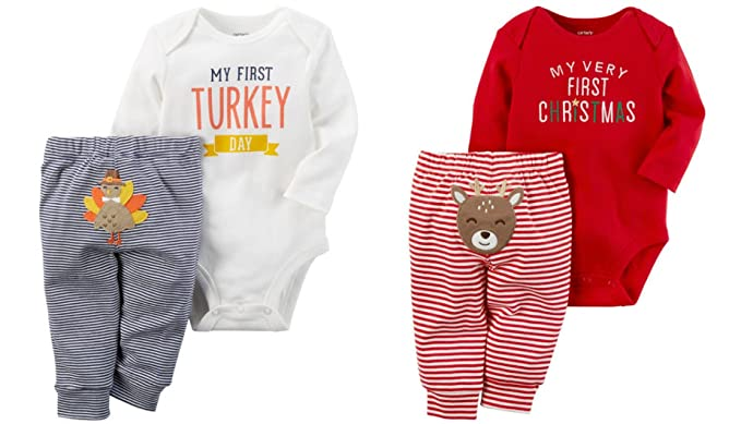 d34c57240 Carters Baby Bundle - My First Christmas and Thanksgiving Sets Unisex (12  Months)