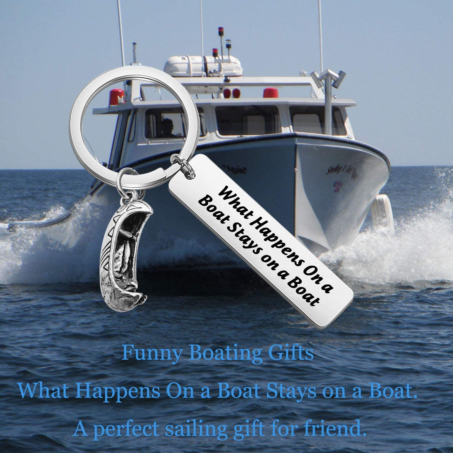 Lywjyb Birdgot Nautical Gifts Sailing Boating Gifts for Captain Funny Fishing Gifts Nautical Sailor Anchor Gift What Happens On The Boat Stays On The Boat Keychain