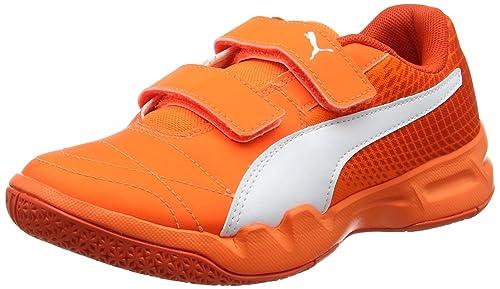 Puma Veloz Indoor II V Jr - Zapatillas Deportivas para Interior de Material sintético Niños^Niñas, Color Naranja, Talla 38,5