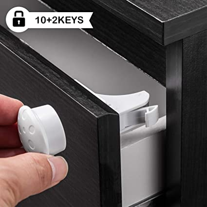Child Safety Cupboard Locks No Drilling and Screws Needed Invisible Designed for Kitchen Cabinets Cupboards Drawers 12 Locks /& 3 Keys Baby Proof Magnetic Cabinet Lock Set