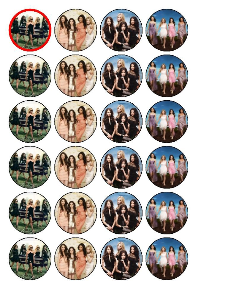 24 x Pretty Little Liars Edible Cupcake Toppers