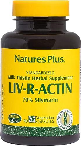 NaturesPlus Liv-R-Actin Milk Thistle Complex – 70 Silymarin, 90 Vegetarian Capsules – Liver Detox Regenerator Support Supplement, Anti-Inflammatory – Gluten-Free – 45 Servings