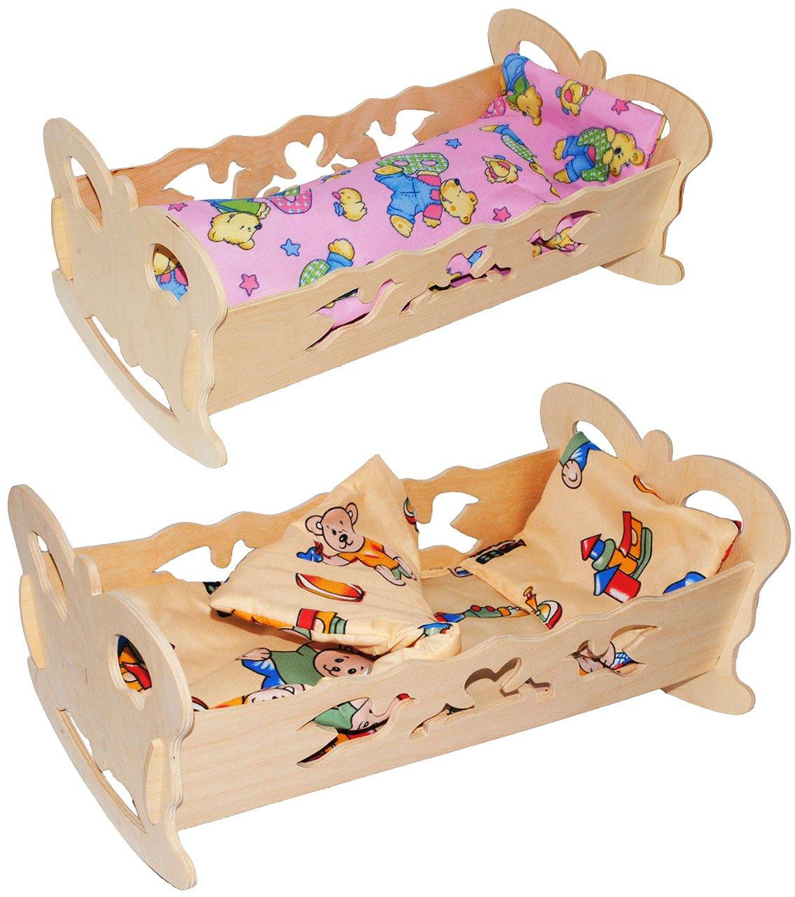 Schmetterling Decke /& Kopfkissen Puppenwiege // Puppenbett alles-meine.de GmbH 1 St/ück /_ Holz aus Naturholz Name f/ür Puppen mit Bettzeug Wiege Ki.. 50 cm incl