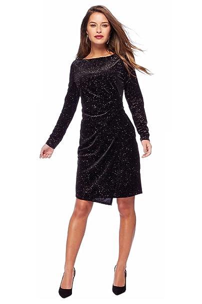 Ladies Womens Black Bronze Sparkle Stretch Velvet Party Dress: Amazon.co.uk: Clothing