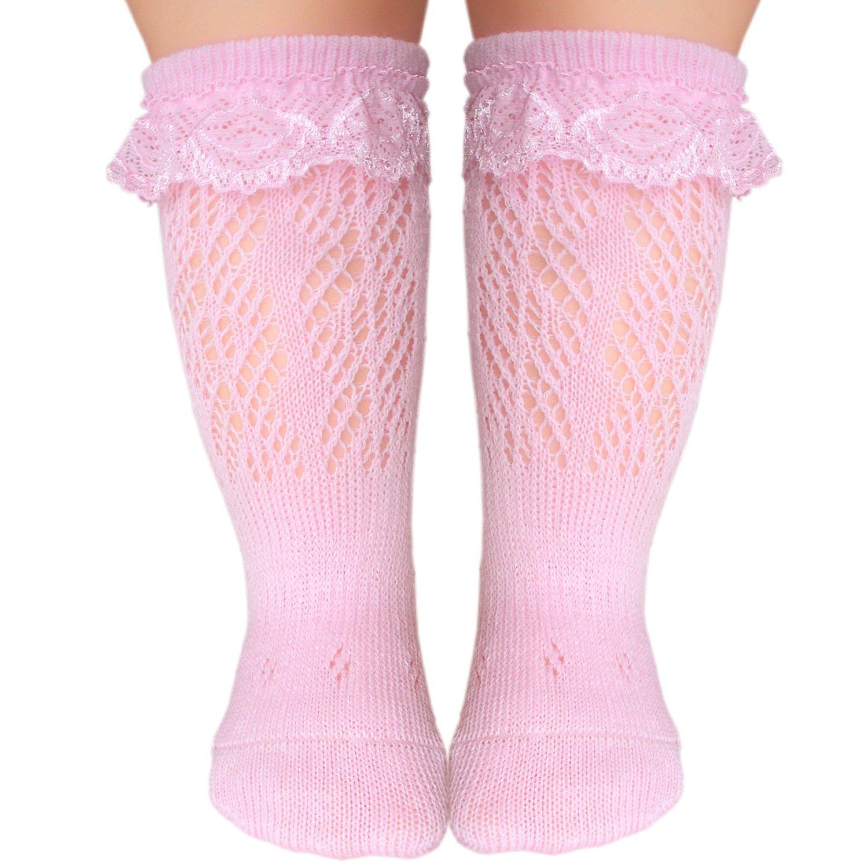 JHosiery Bébé chaussettes hautes sans couture avec dentelle pour pieds sensibles