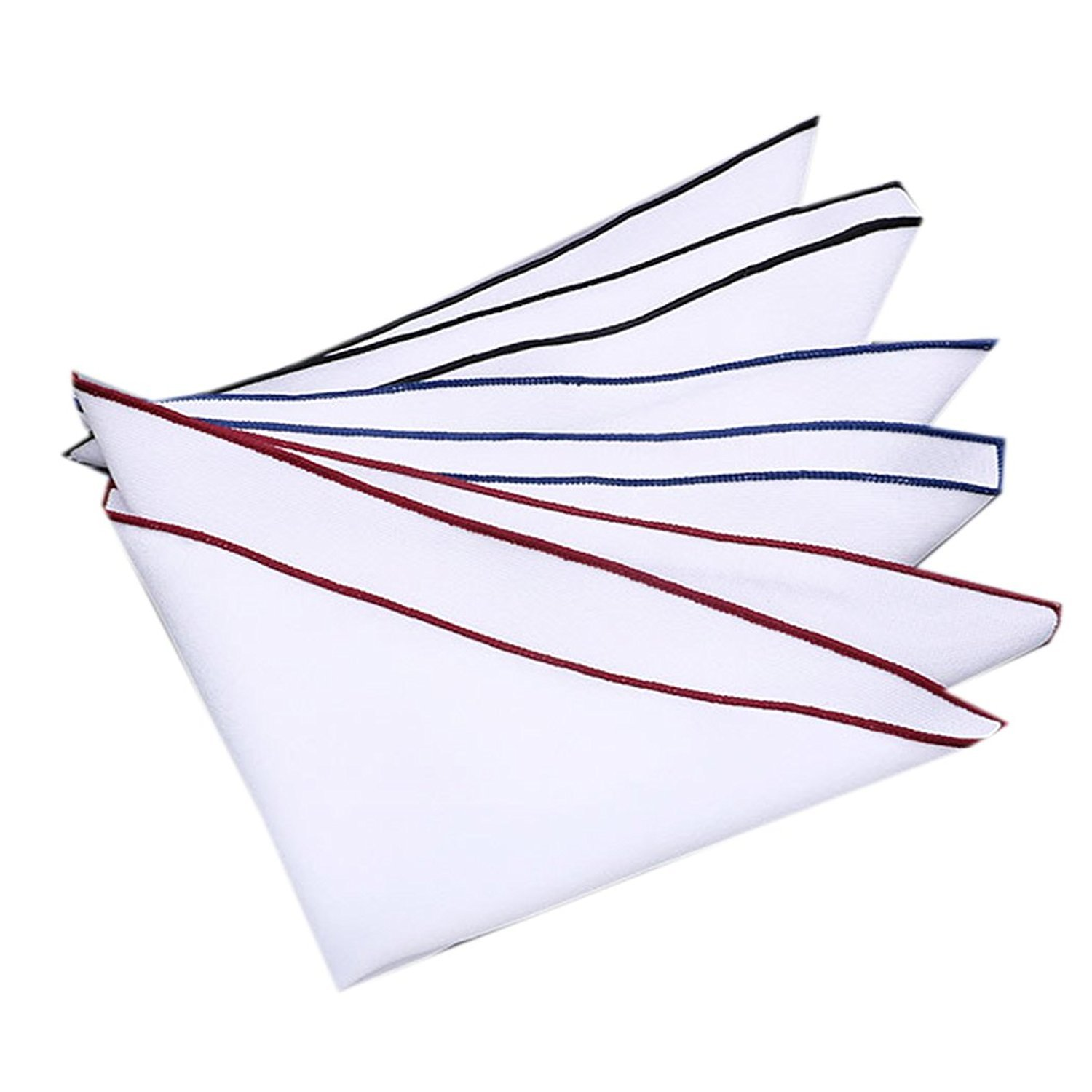 Mens White Pocket Square 100% Cotton- Pack of 3 (Burgundy+Navy Blue+Black Borders)
