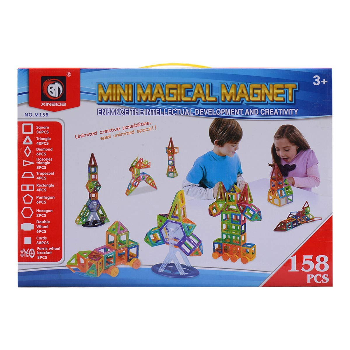 EnjoyShop 158 pcs Magical Magnetic Construction Building Blocks Smooth Interface and Good Abrasion Resistance for Durability by EnjoyShop (Image #6)