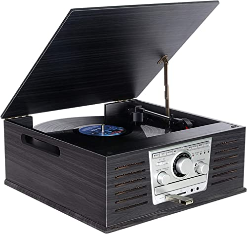 Wooden Vinyl Record Player,DLITIME 3-Speed Vinyl Turntable Stereo Speakers, FM AM RCA CD MP3 USB Headphone Jack LCD Player