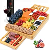 Cheese Board and Knife Set, Bamboo Charcuterie Boards Large Extra Meat Charcuttery Platter Serving Tray for Housewarming Than