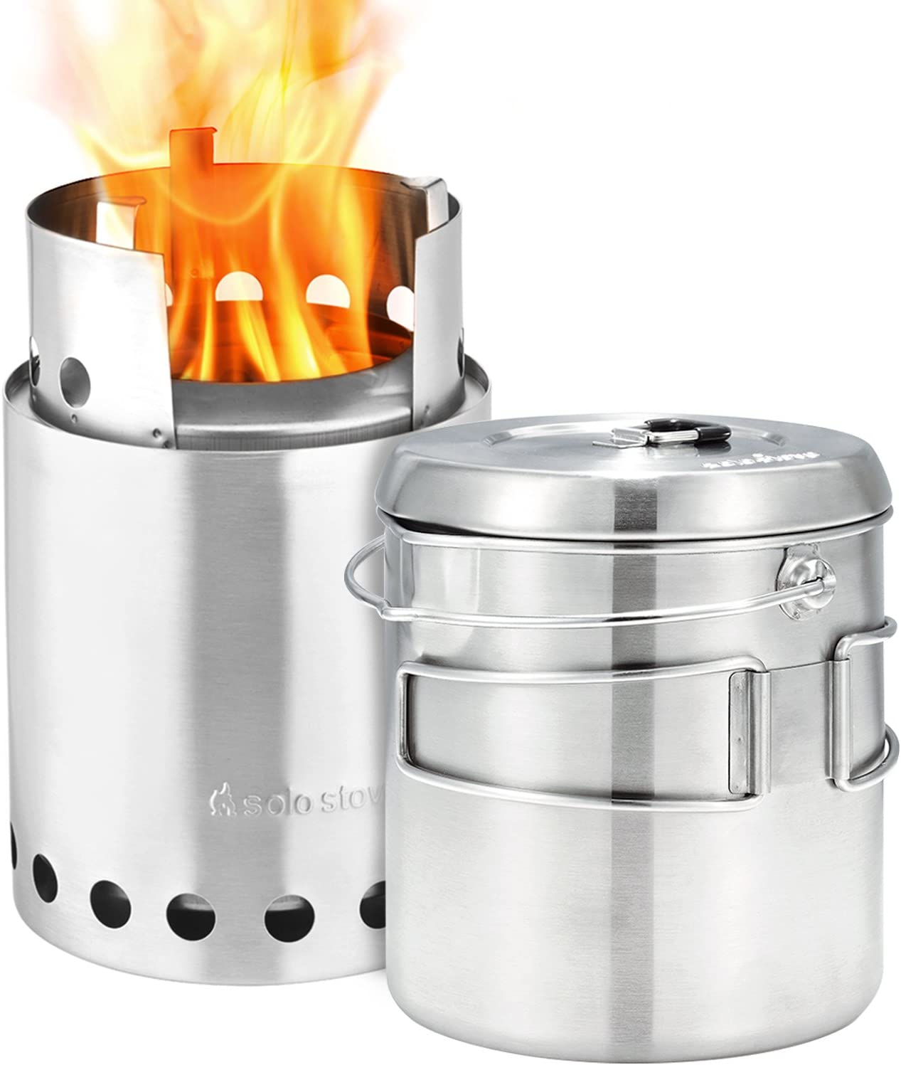 Solo Stove Titan Pot 1800 Combo Kit – Wood Burning Gassification Backpacking Stove Combo Camping Survival Efficient Stove