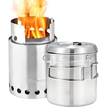 mini Solo Stove Titan & Solo Pot 1800 Camp Stove Combo: Woodburning Backpacking Stove Great for Camping and Survival