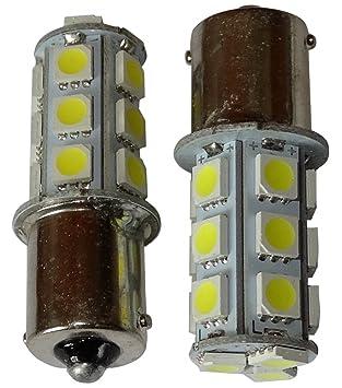 AERZETIX: 2 x Bombillas 24V P21W R10W R5W 18LED SMD blanco para camion semirremolque puerta de garaje portal: Amazon.es: Coche y moto
