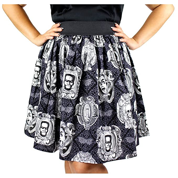 Vintage Retro Halloween Themed Clothing Classic Monster Portraits Pleated Skirt Black  AT vintagedancer.com