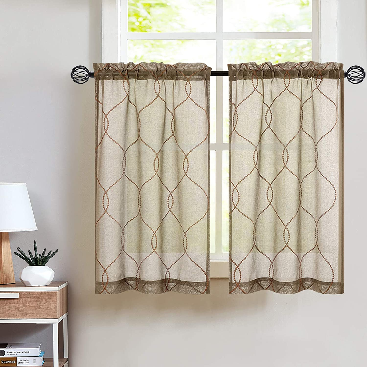 Amazon Com Embroidery Kitchen Curtain Sets 3 Pcs Moroccan Trellis Pattern Embroidered Semi Sheer Kitchen Tier Curtains And Valance Set 36 Inch For Bathroom Taupe Home Kitchen