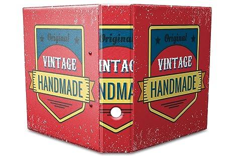 Archivador A4 Carpeta 2 anillas 60mm impreso Vintage hecho a mano