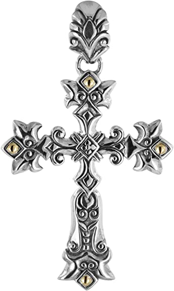 Cross with Starburst and Filigree Teardrop 925 Sterling Silver Religious Pendant