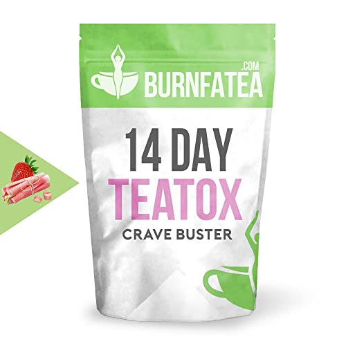 Burnfatea Teatox 14 Day Crave Buster - Appetite Suppressant, Fights Sugar Cravings and Weight Loss Tea (Strawberry Rhubarb Flavour)